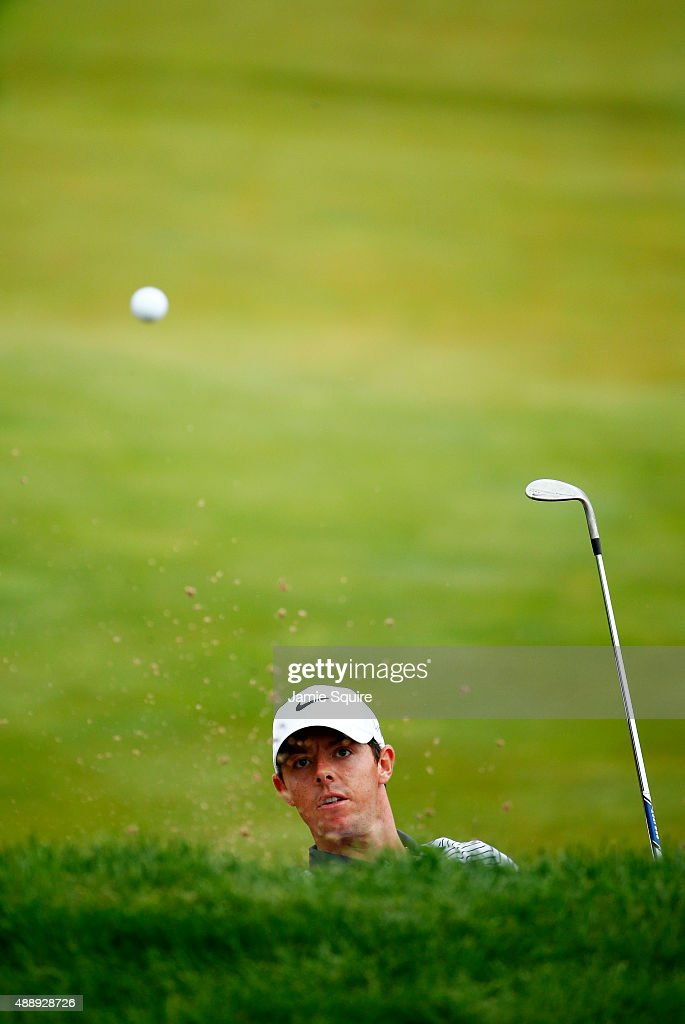 Rory McIlroy of Northern Ireland plays his third shot on the 15th hole during the Second Round of the BMW Championship at Conway Farms Golf Club on September 18, 2015 in Lake Forest, Illinois.
