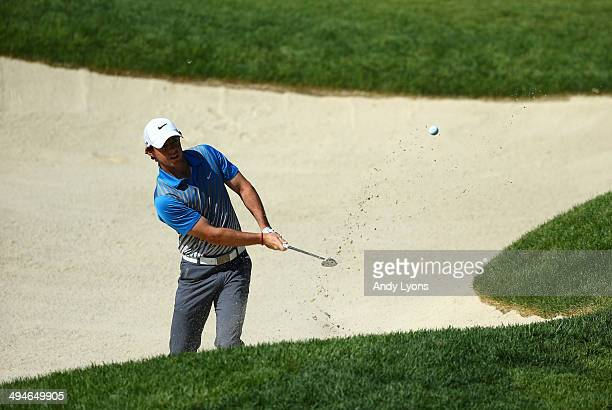 Rory McIlroy of Northern Ireland plays his third shot on the 16th hole during the second round of the Memorial Tournament presented by Nationwide...