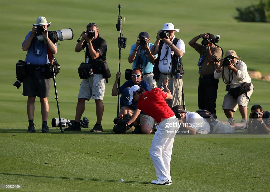 Rory McIlroy of Northern Ireland plays his third shot on the 18th hole during the final roung of the DP World Tour Championship on the Earth Course at Jumeirah Golf Estates on November 25, 2012 in Dubai, United Arab Emirates.