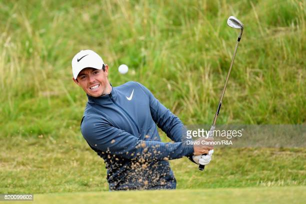 Rory McIlroy of Northern Ireland plays his third shot on the 8th hole during the second round of the 146th Open Championship at Royal Birkdale on...