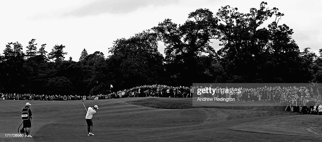 Rory McIlroy of Northern Ireland plays his third shot on the fifth hole during the second round of the Irish Open at Carton House Golf Club on June 28, 2013 in Maynooth, Ireland.