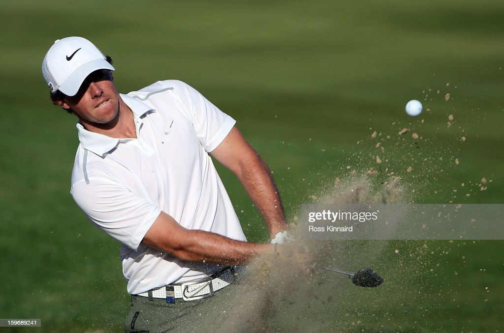Rory McIlroy of Northern Ireland plays his third shot par four 16th hole during the second round of the Abu Dhabi HSBC Golf Championship at the Abu Dhabi Golf Club on January 18, 2013 in Abu Dhabi, United Arab Emirates.