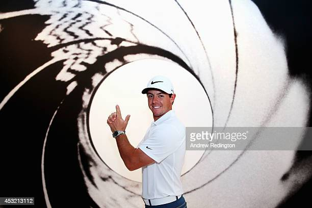 Rory McIlroy of Northern Ireland poses for photo in the Omega Exhibition during a practice round prior to the start of the 96th PGA Championship at...