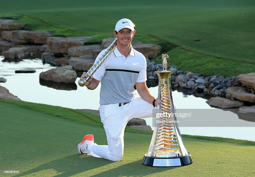 <a gi-track='captionPersonalityLinkClicked' href=/galleries/search?phrase=Rory+McIlroy&family=editorial&specificpeople=783109 ng-click='$event.stopPropagation()'>Rory McIlroy</a> of Northern Ireland poses with The DP World Tour Championship and the Race to Dubai trophy after his one shot win in the final round of the 2015 DP World Tour Championship on the Earth Course at Jumeirah Golf Estates on November 22, 2015 in Dubai, United Arab Emirates.