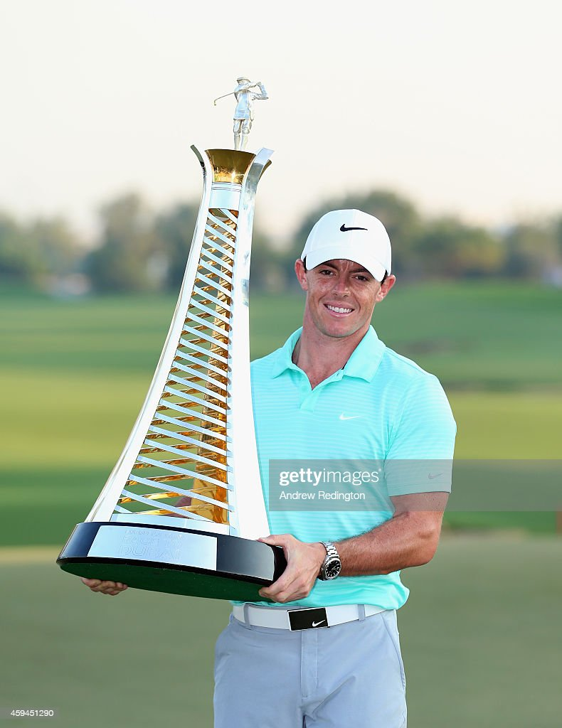 <a gi-track='captionPersonalityLinkClicked' href=/galleries/search?phrase=Rory+McIlroy&family=editorial&specificpeople=783109 ng-click='$event.stopPropagation()'>Rory McIlroy</a> of Northern Ireland poses with the Race To Dubai trophy after winnng The Race To Dubai at the DP World Tour Championship at Jumeirah Golf Estates on November 23, 2014 in Dubai, United Arab Emirates.
