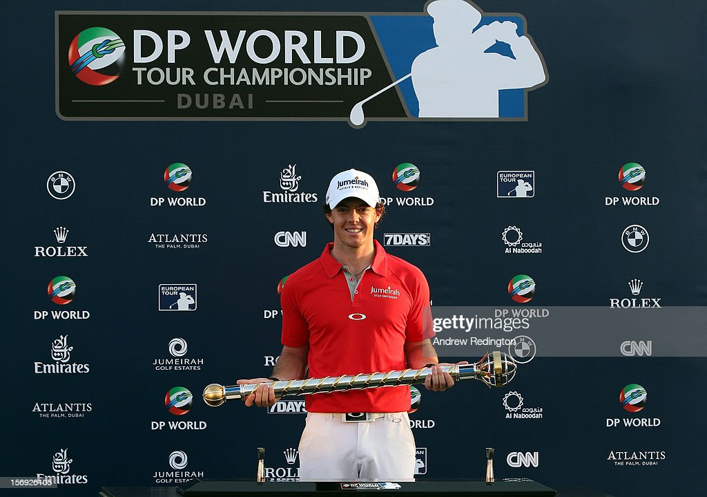 Rory McIlroy of Northern Ireland poses with the trophy after winning the DP World Tour Championship on the Earth Course at Jumeirah Golf Estates on November 25, 2012 in Dubai, United Arab Emirates.