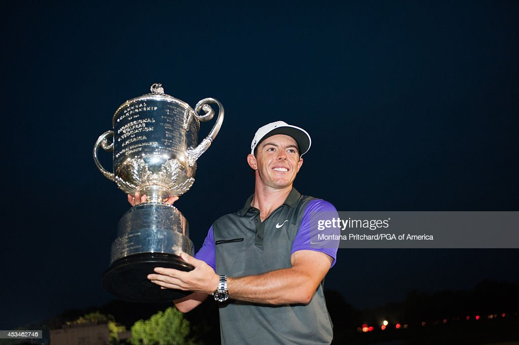 Rory McIlroy of Northern Ireland poses with the Wanamaker Trophy during the Award Ceremony for the 96th PGA Championship at Valhalla Golf Club on...
