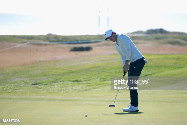 Rory McIlroy of Northern Ireland putts during a ProAm prior to the AAM Scottish Open at Dundonald Links Golf Course on July 12 2017 in Troon Scotland