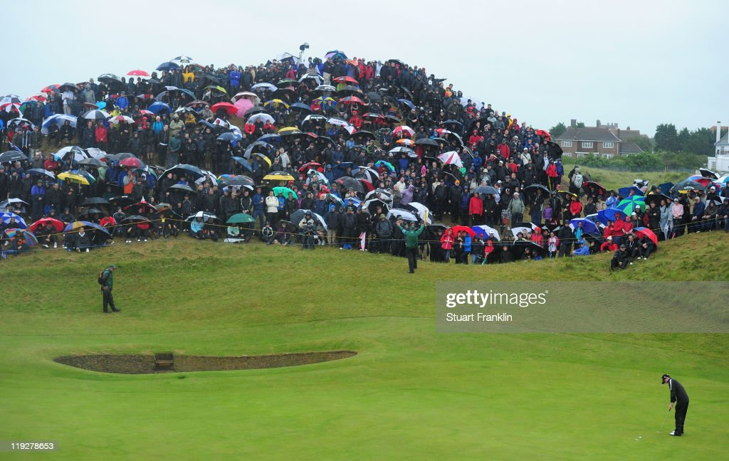 Rory McIlroy of Northern Ireland putts on the 6th green during the third round of The 140th Open Championship at Royal St George's on July 16, 2011 in Sandwich, England.
