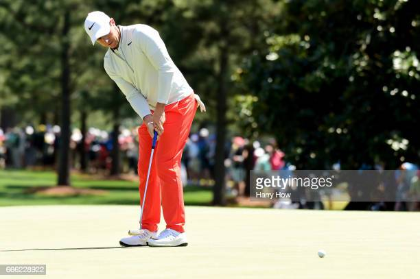 Rory McIlroy of Northern Ireland putts on the first hole during the third round of the 2017 Masters Tournament at Augusta National Golf Club on April...