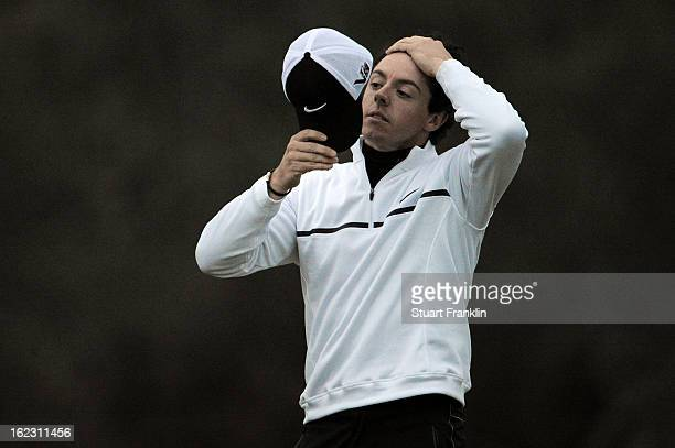 Rory McIlroy of Northern Ireland reacts after he lost his match to Shane Lowry of Ireland during the first round of the World Golf Championships...