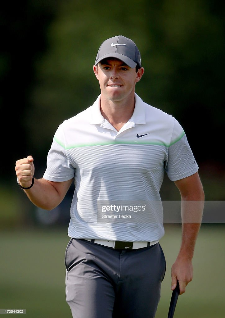 <a gi-track='captionPersonalityLinkClicked' href=/galleries/search?phrase=Rory+McIlroy&family=editorial&specificpeople=783109 ng-click='$event.stopPropagation()'>Rory McIlroy</a> of Northern Ireland reacts after making a birdie putt on the 16th hole during round three at the Wells Fargo Championship at Quail Hollow Club on May 16, 2015 in Charlotte, North Carolina.