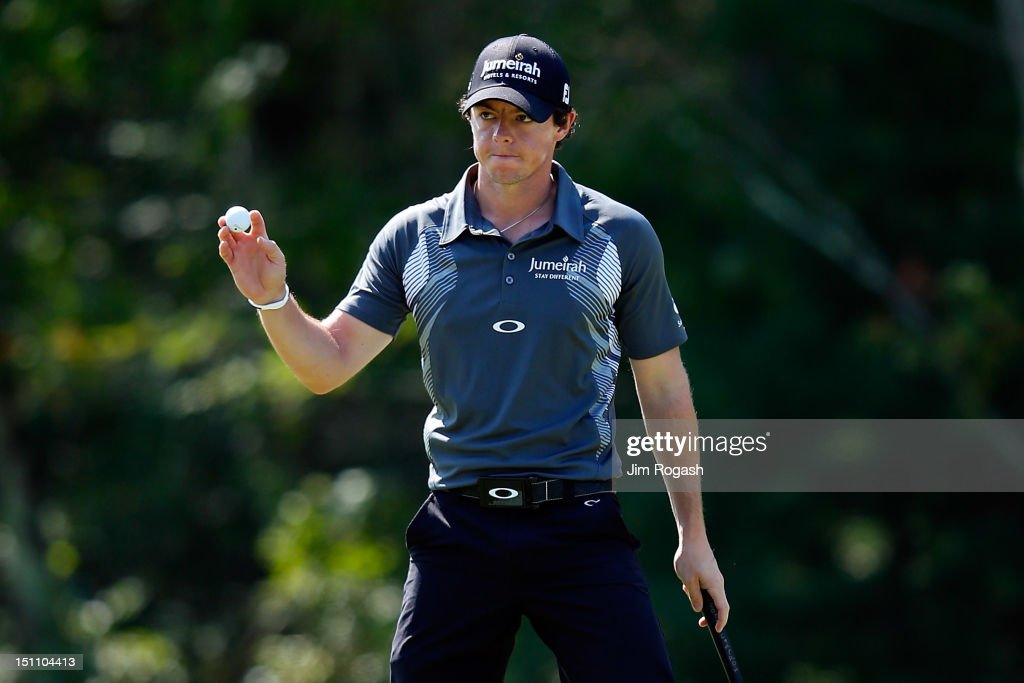 <a gi-track='captionPersonalityLinkClicked' href=/galleries/search?phrase=Rory+McIlroy&family=editorial&specificpeople=783109 ng-click='$event.stopPropagation()'>Rory McIlroy</a> of Northern Ireland reacts after making an eagle on the 18th hole during the second round of the Deutsche Bank Championship at TPC Boston on September 1, 2012 in Norton, Massachusetts.