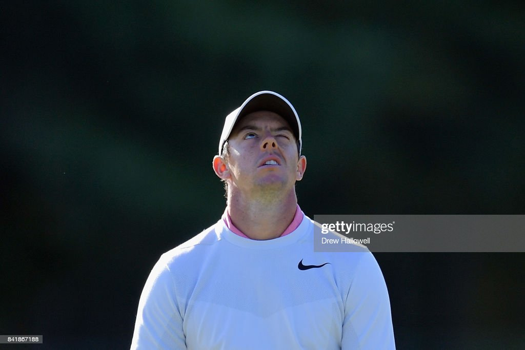 Rory McIlroy of Northern Ireland reacts after missing a putt on the 10th green during round two of the Dell Technologies Championship at TPC Boston on September 2, 2017 in Norton, Massachusetts.