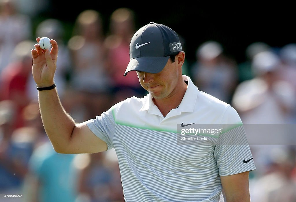 Rory McIlroy of Northern Ireland reacts after putting on the 18th hole during round three at the Wells Fargo Championship at Quail Hollow Club on May...