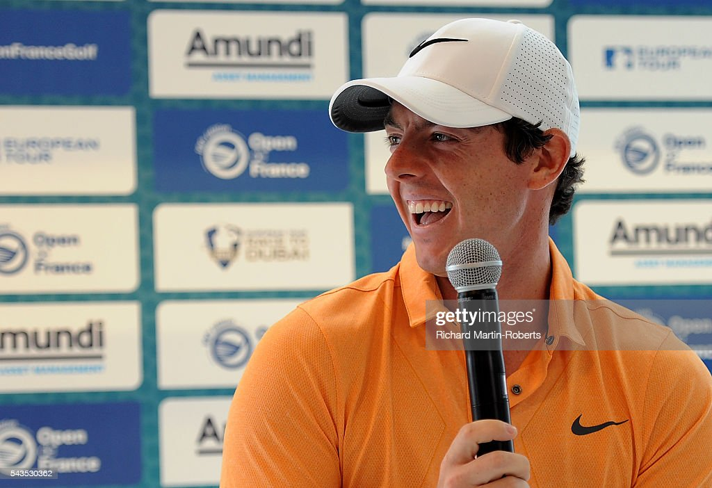 <a gi-track='captionPersonalityLinkClicked' href=/galleries/search?phrase=Rory+McIlroy&family=editorial&specificpeople=783109 ng-click='$event.stopPropagation()'>Rory McIlroy</a> of Northern Ireland reacts at a press conference during a pro-am round ahead of the 100th Open de France at Le Golf National on June 29, 2016 in Paris, France.