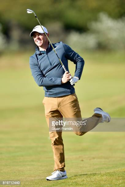 Rory McIlroy of Northern Ireland reacts from the 15th hole during the first round of the 146th Open Championship at Royal Birkdale on July 20 2017 in...
