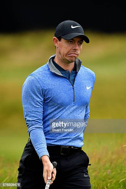 Rory McIlroy of Northern Ireland reacts on the 10th green during the second round on day two of the 145th Open Championship at Royal Troon on July 15...