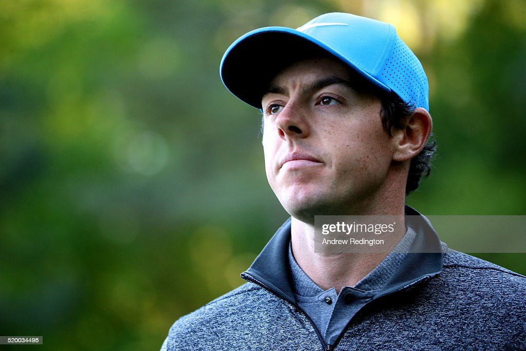 Rory McIlroy of Northern Ireland reacts on the 13th hole during the third round of the 2016 Masters Tournament at Augusta National Golf Club on April...