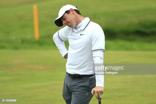 Rory McIlroy of Northern Ireland reacts on the 18th green during day two of the AAM Scottish Open at Dundonald Links Golf Course on July 14 2017 in...