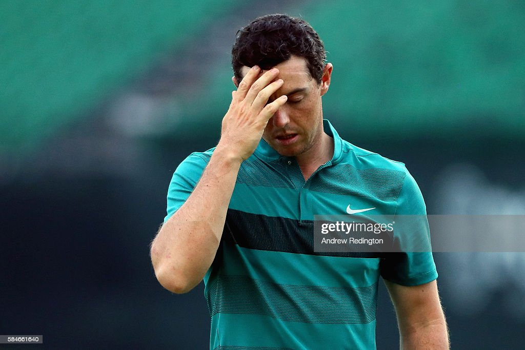 Rory McIlroy of Northern Ireland reacts on the 18th green during the second round of the 2016 PGA Championship at Baltusrol Golf Club on July 29, 2016 in Springfield, New Jersey.