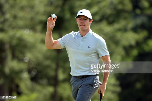 Rory McIlroy of Northern Ireland reacts on the 18th hole after the second round of the 2016 Masters Tournament at Augusta National Golf Club on April...