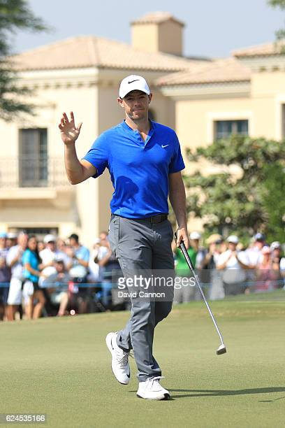 Rory McIlroy of Northern Ireland reacts to a birdie on the 9th green during day four of the DP World Tour Championship at Jumeirah Golf Estates on...