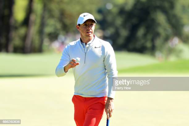 Rory McIlroy of Northern Ireland reacts to a birdie on the eighth hole during the third round of the 2017 Masters Tournament at Augusta National Golf...