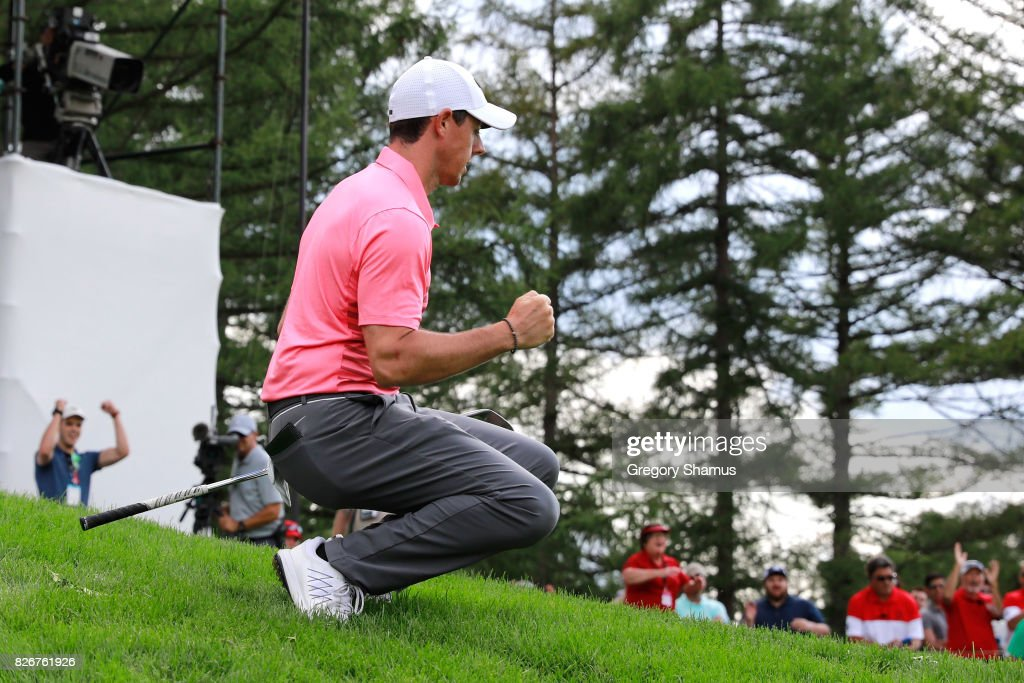 Rory McIlroy of Northern Ireland reacts to a chip in on the 12th green during the third round of the World Golf Championships - Bridgestone Invitational at Firestone Country Club South Course on August 5, 2017 in Akron, Ohio.
