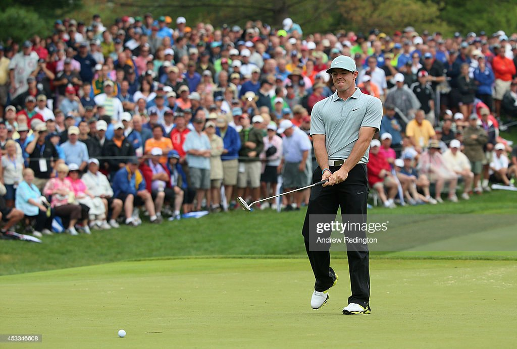 Rory McIlroy of Northern Ireland reacts to a missed putt for eagle on the seventh hole during the second round of the 96th PGA Championship at...