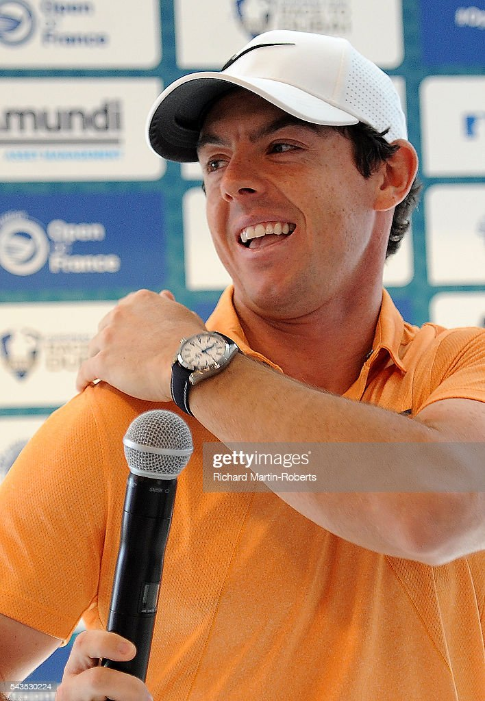<a gi-track='captionPersonalityLinkClicked' href=/galleries/search?phrase=Rory+McIlroy&family=editorial&specificpeople=783109 ng-click='$event.stopPropagation()'>Rory McIlroy</a> of Northern Ireland reacts to a mosquito at a press conference during a pro-am round ahead of the 100th Open de France at Le Golf National on June 29, 2016 in Paris, France.