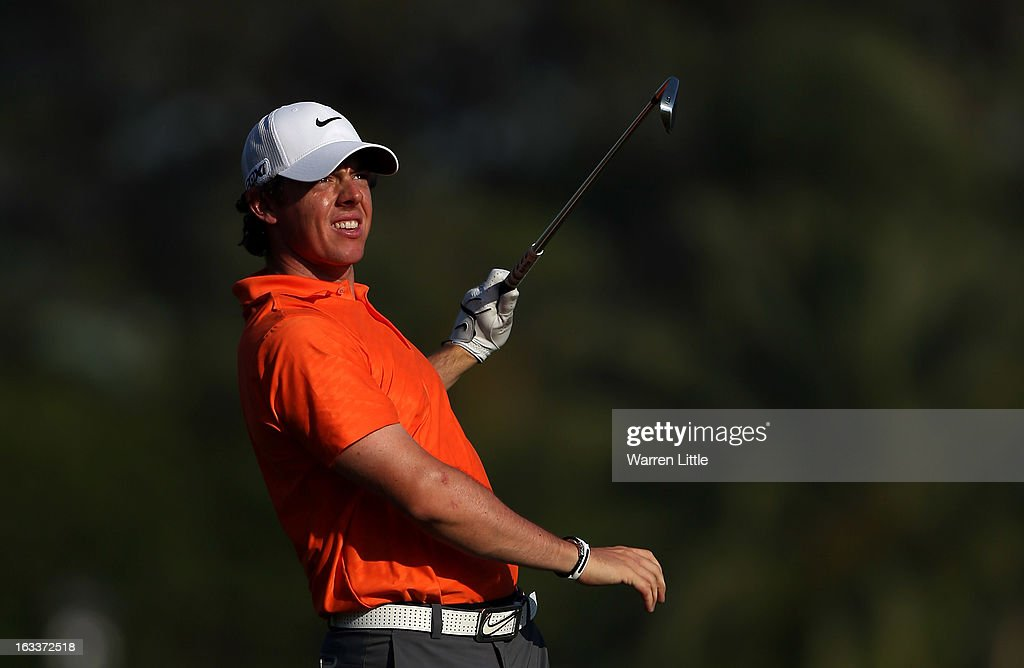 <a gi-track='captionPersonalityLinkClicked' href=/galleries/search?phrase=Rory+McIlroy&family=editorial&specificpeople=783109 ng-click='$event.stopPropagation()'>Rory McIlroy</a> of Northern Ireland reacts to a poor shot into the 14th green during the second round of the WGC - Cadillac Championship at the Trump Doral Golf Resort & Spa on March 8, 2013 in Doral, Florida.