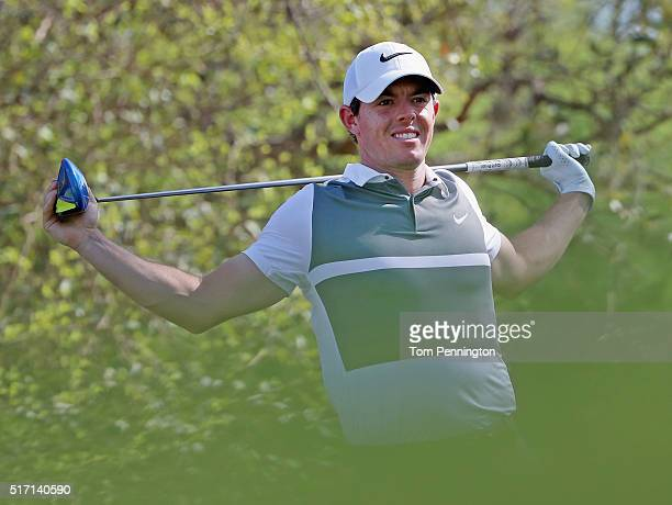 Rory McIlroy of Northern Ireland reacts to a poor tee shot on the 12th hole during round one of the World Golf ChampionshipsDell Match Play at Austin...