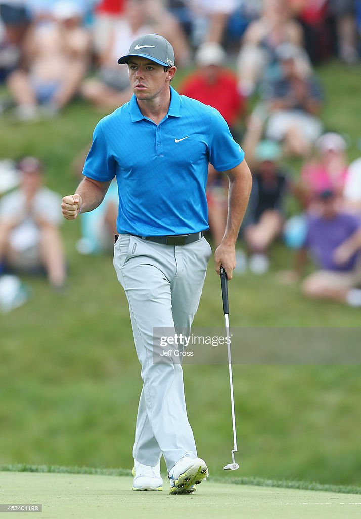 <a gi-track='captionPersonalityLinkClicked' href=/galleries/search?phrase=Rory+McIlroy&family=editorial&specificpeople=783109 ng-click='$event.stopPropagation()'>Rory McIlroy</a> of Northern Ireland reacts to a putt for birdie on the tenth hole during the third round of the 96th PGA Championship at Valhalla Golf Club on August 9, 2014 in Louisville, Kentucky.