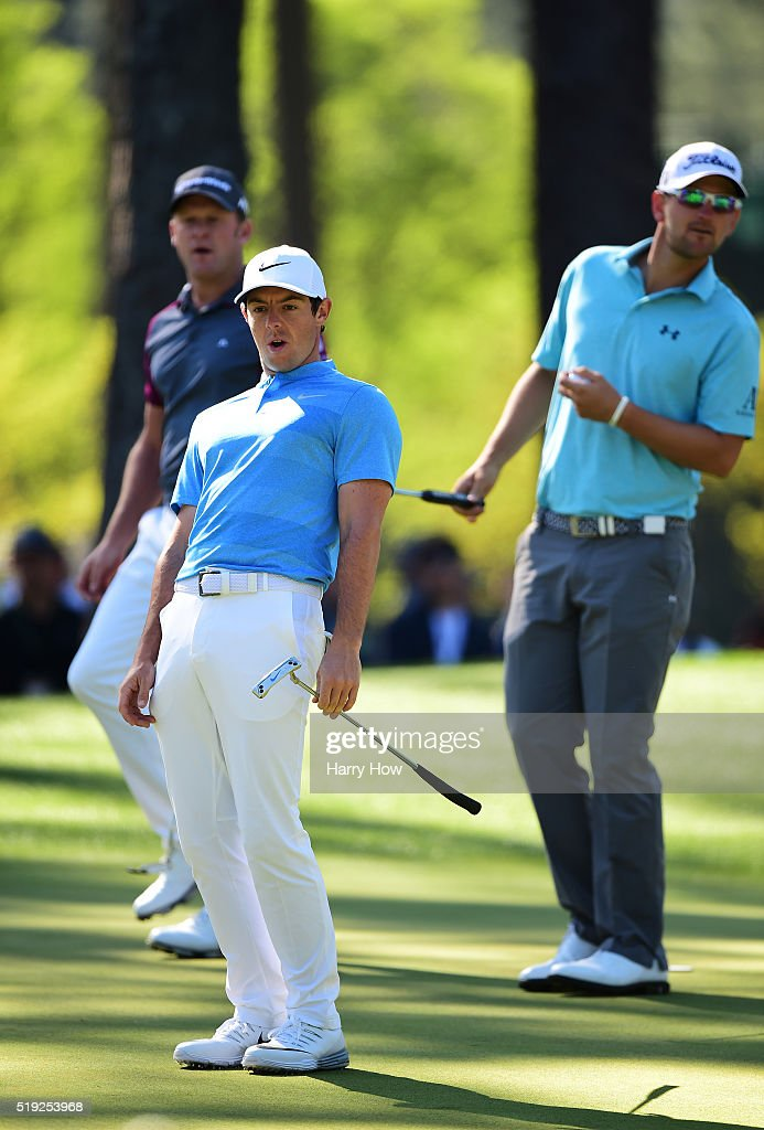 <a gi-track='captionPersonalityLinkClicked' href=/galleries/search?phrase=Rory+McIlroy&family=editorial&specificpeople=783109 ng-click='$event.stopPropagation()'>Rory McIlroy</a> of Northern Ireland reacts to a putt on the sixth green as <a gi-track='captionPersonalityLinkClicked' href=/galleries/search?phrase=Jamie+Donaldson&family=editorial&specificpeople=241203 ng-click='$event.stopPropagation()'>Jamie Donaldson</a> of Wales and <a gi-track='captionPersonalityLinkClicked' href=/galleries/search?phrase=Bernd+Wiesberger&family=editorial&specificpeople=4025132 ng-click='$event.stopPropagation()'>Bernd Wiesberger</a> of Austria look on during a practice round prior to the start of the 2016 Masters Tournament at Augusta National Golf Club on April 5, 2016 in Augusta, Georgia.