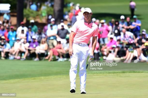 Rory McIlroy of Northern Ireland reacts to an attempt for eagle on the second hole during the final round of the 2017 Masters Tournament at Augusta...