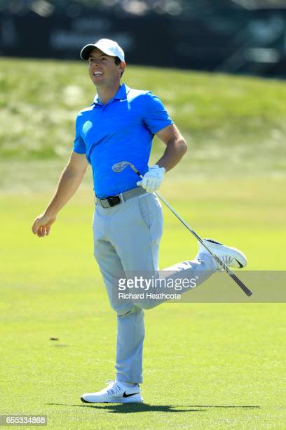 Rory McIlroy of Northern Ireland reacts to his approach tot he 10th green during the final round of the Arnold Palmer Invitational Presented By...