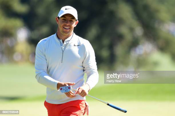 Rory McIlroy of Northern Ireland reacts to his chip on the eighth hole during the third round of the 2017 Masters Tournament at Augusta National Golf...