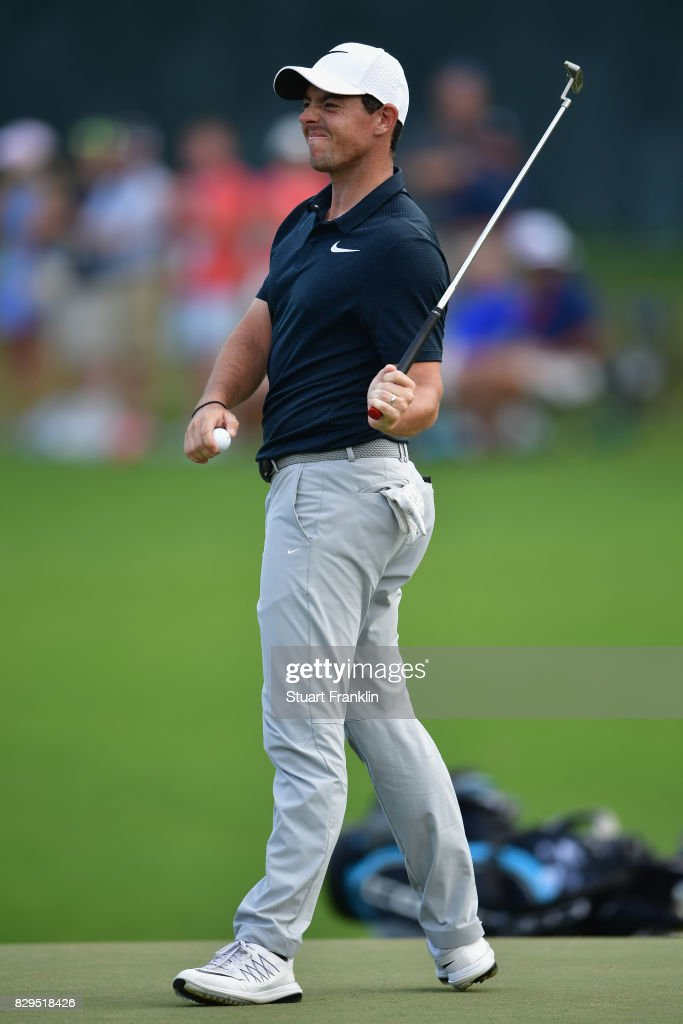 Rory McIlroy of Northern Ireland reacts to his putt on the 18th hole during the first round of the 2017 PGA Championship at Quail Hollow Club on August 10, 2017 in Charlotte, North Carolina.