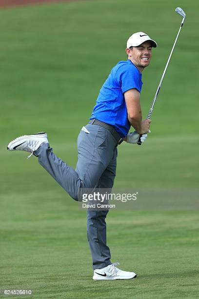 Rory McIlroy of Northern Ireland reacts to his second shot on the 7th hole during day four of the DP World Tour Championship at Jumeirah Golf Estates...