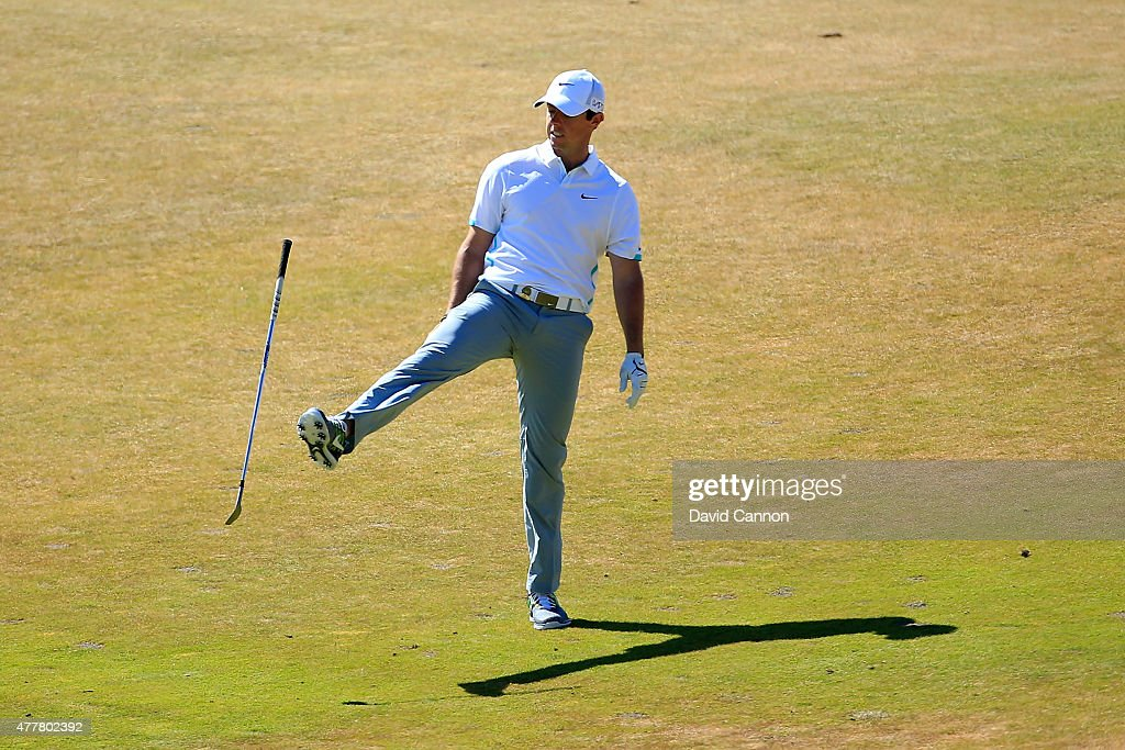 <a gi-track='captionPersonalityLinkClicked' href=/galleries/search?phrase=Rory+McIlroy&family=editorial&specificpeople=783109 ng-click='$event.stopPropagation()'>Rory McIlroy</a> of Northern Ireland reacts to his second shot on the seventh hole during the second round of the 115th U.S. Open Championship at Chambers Bay on June 19, 2015 in University Place, Washington.