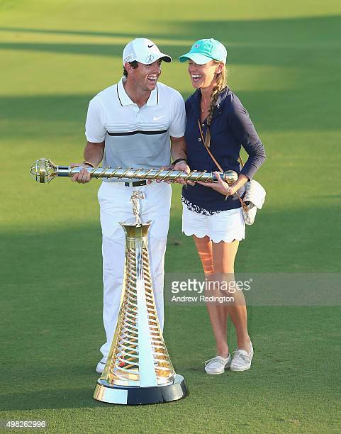Rory McIlroy of Northern Ireland Rory McIlroy of Northern Ireland and his girlfriend Erica Stoll pose with the Race To Dubai and DP World Tour...