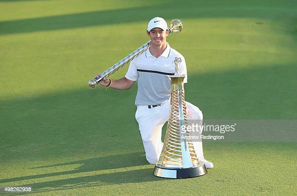 Rory McIlroy of Northern Ireland Rory McIlroy of Northern Ireland poses with the Race To Dubai and DP World Tour Championship trophies following the...