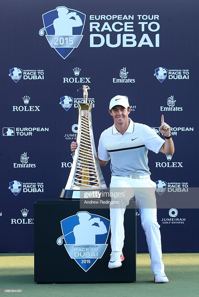 Rory McIlroy of Northern Ireland Rory McIlroy of Northern Ireland poses with the Race To Dubai trophy following the final round of the DP World Tour Championship on the Earth Course at Jumeirah Golf Estates on November 22, 2015 in Dubai, United Arab Emirates.