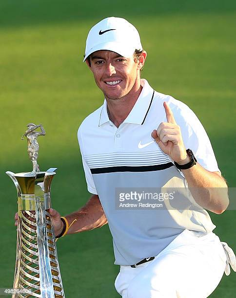 Rory McIlroy of Northern Ireland Rory McIlroy of Northern Ireland poses with the Race To Dubai trophy following the final round of the DP World Tour...