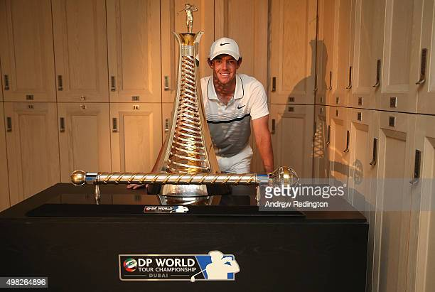 Rory McIlroy of Northern Ireland Rory McIlroy of Northern Ireland poses with the Race To Dubai and DP World Tour Championship trophies in the locker...