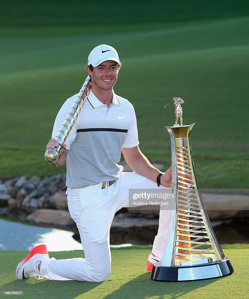 Rory McIlroy of Northern Ireland Rory McIlroy of Northern Ireland poses with the Race To Dubai and DP World Tour Championship trophies following the final round of the DP World Tour Championship on the Earth Course at Jumeirah Golf Estates on November 22, 2015 in Dubai, United Arab Emirates.