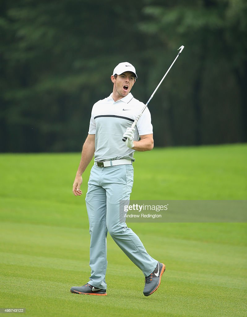 Rory McIlroy of Northern Ireland shouts fore after his second shot on the 15th hole during the first round of the WGC - HSBC Champions at the Sheshan International Golf Club on November 5, 2015 in Shanghai, China.
