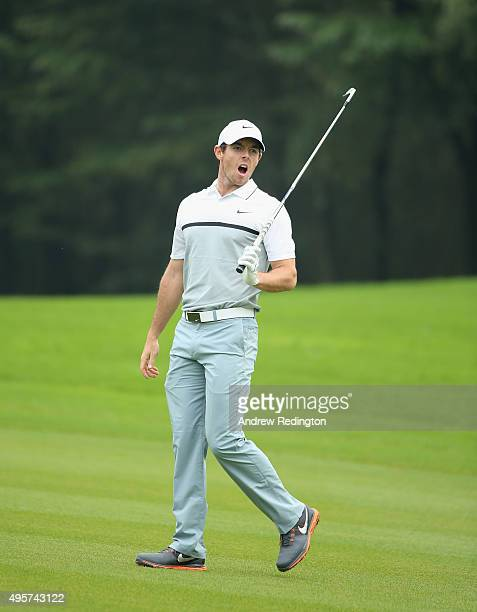 Rory McIlroy of Northern Ireland shouts fore after his second shot on the 15th hole during the first round of the WGC HSBC Champions at the Sheshan...