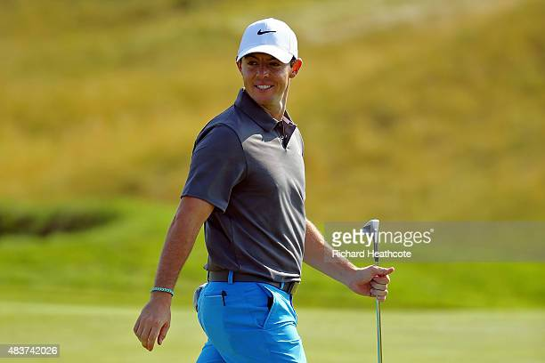 Rory McIlroy of Northern Ireland smiles during a practice round prior to the 2015 PGA Championship at Whistling Straits on August 12 2015 in...
